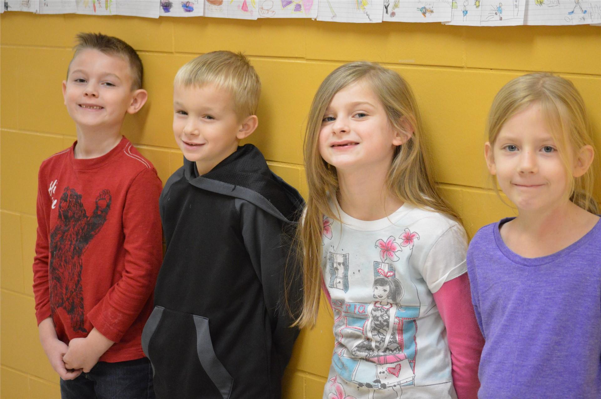 1st Grade:  Owen Johns, Mason Davenport, Brooklyn Sweeney, Rylee Hammer