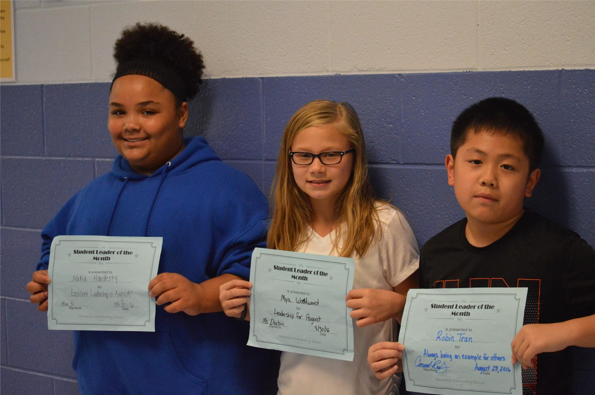 Nakia Hardesty, Mya Woodward, Robin Tran, 5th Grade