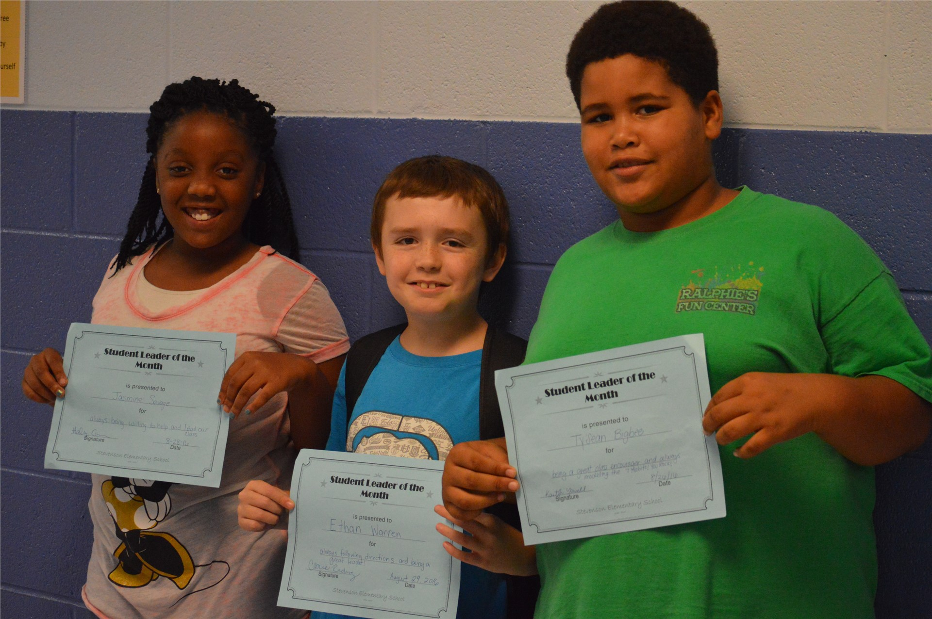 Jasmine Savage, Ethan Warren, Ty'Sean Bigbee, 4th Grade