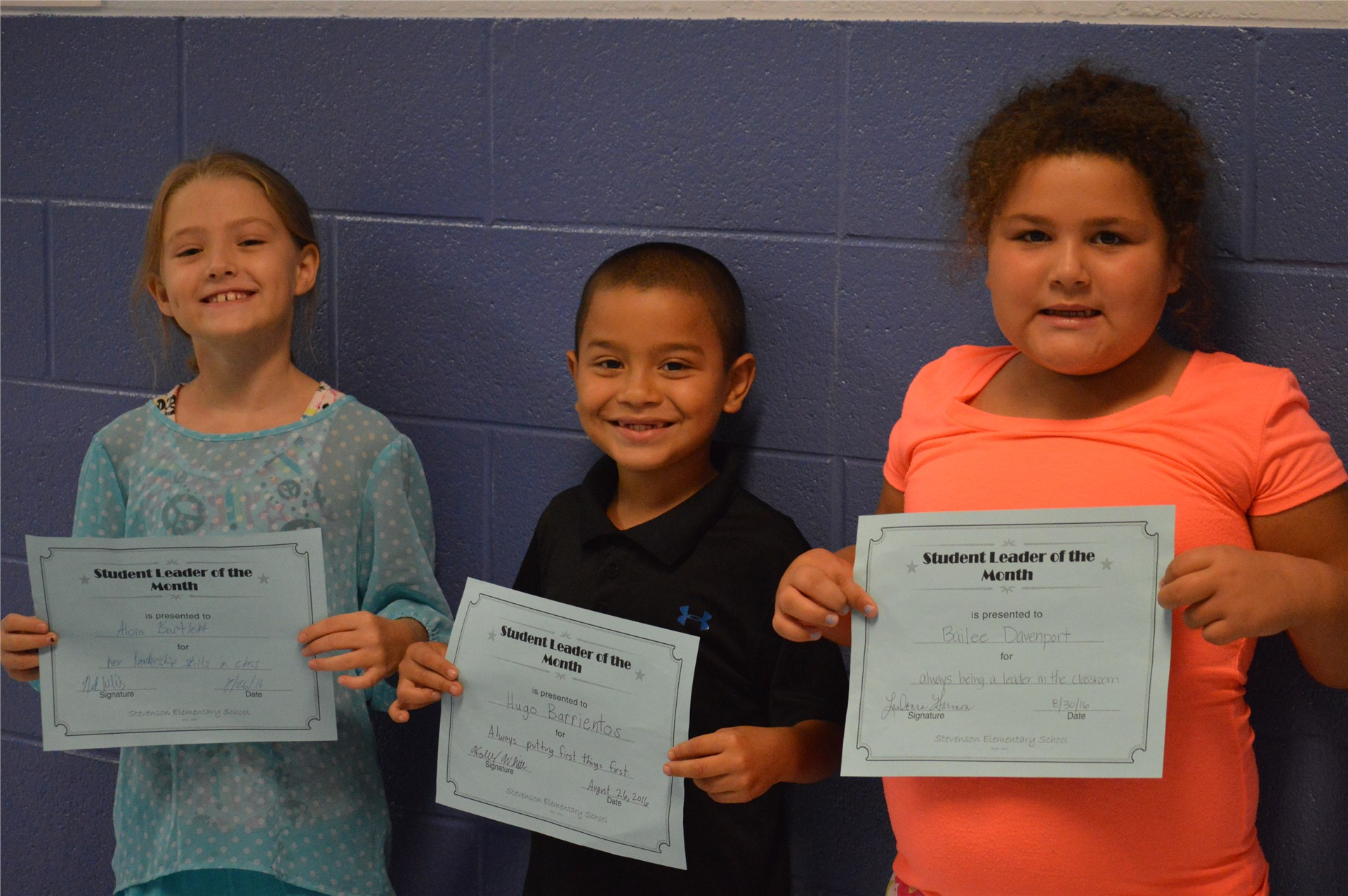 Alora Bartlett, Hugo Barrientos, Bailee Davenport, 2nd Grade