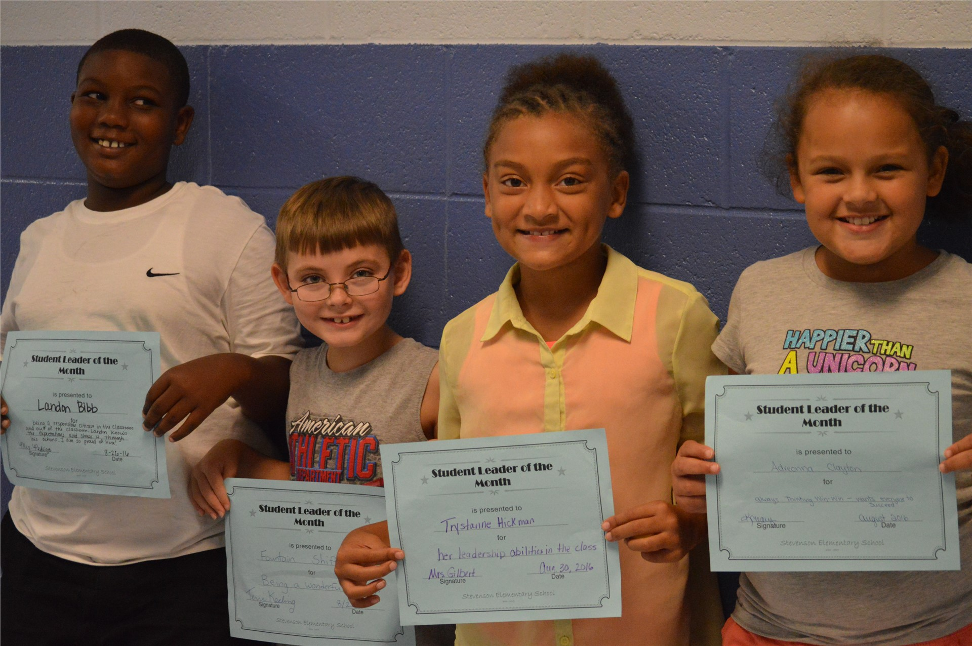 Landon Bibb, Fountain Shifflett, IV, Trystanne Hickman, Adreonna Clayton, 3rd Grade