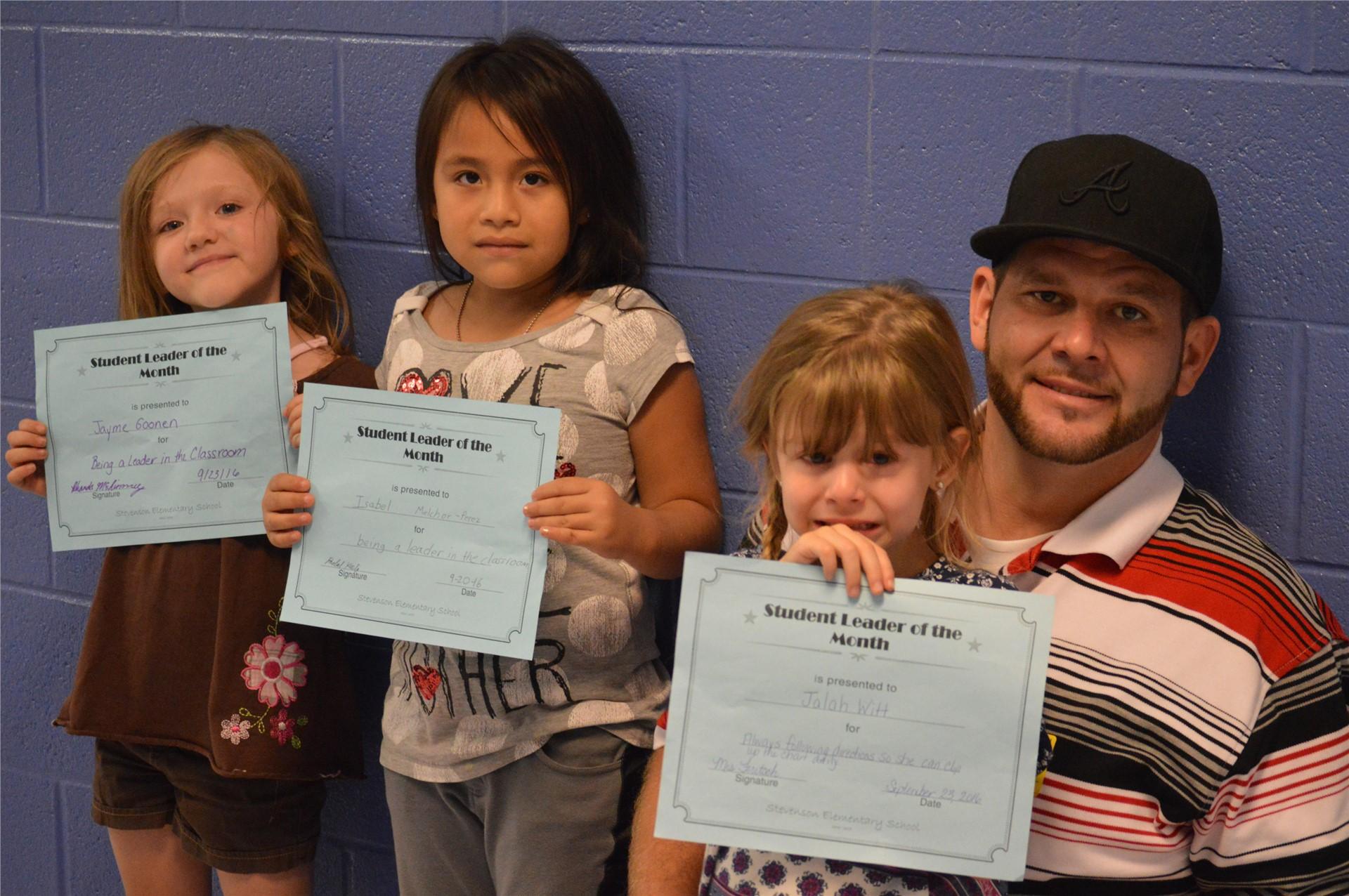 (L-R) Kindegarten:  Jayme Goonen; 1st Grader, Isabel Melchor-Perez; Jalah Witt & her dad, Justin