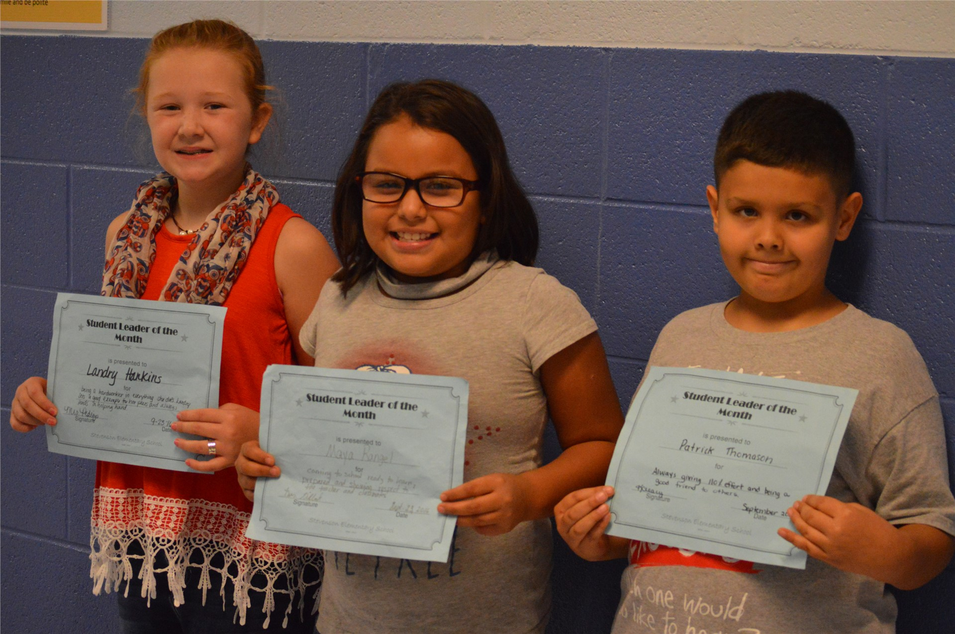 (L-R) 3rd Graders:  Landry Hankins, Maya Rangel, Patrick Thomason