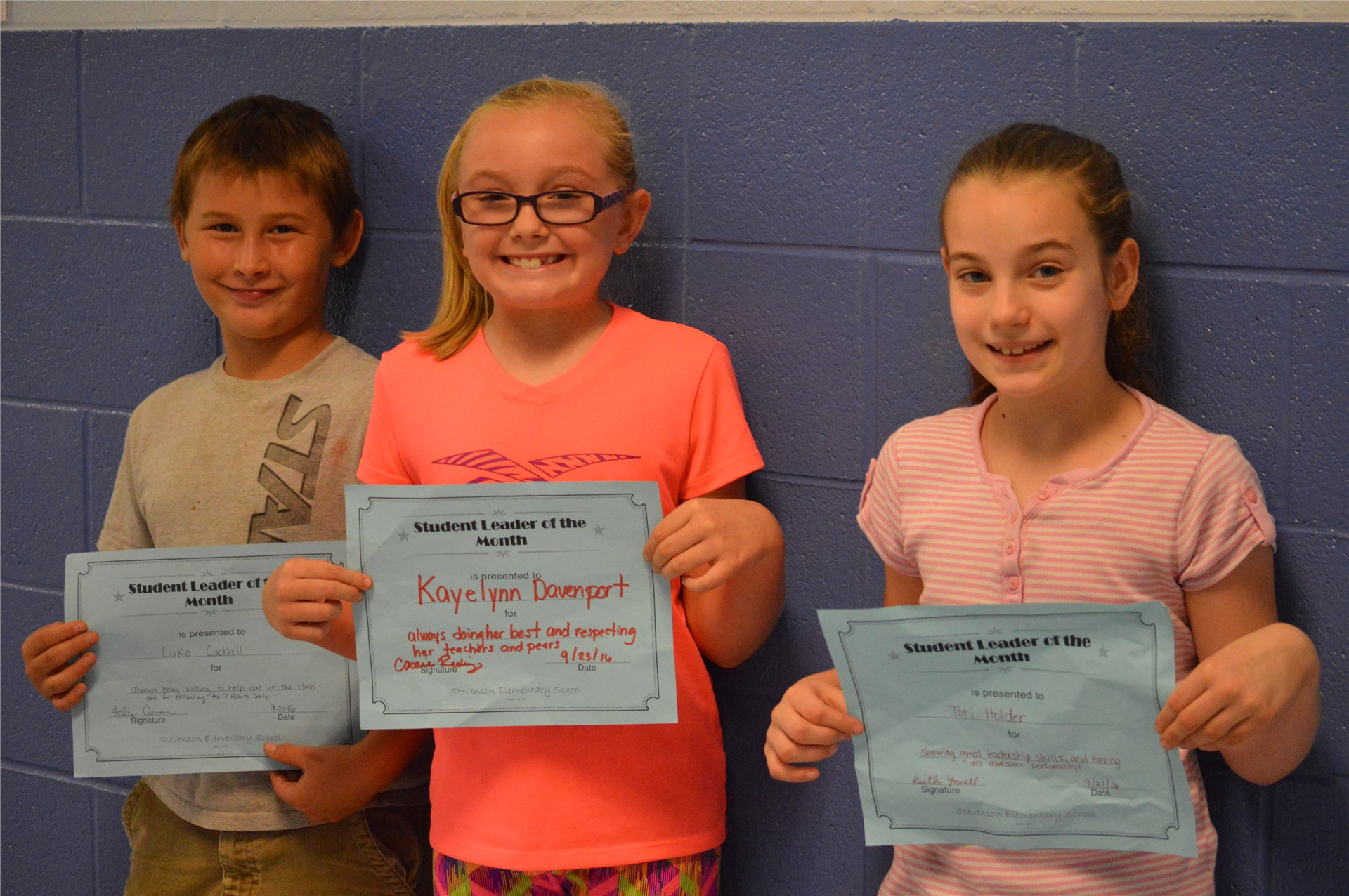 (L-R) 4th Graders:  Luke Cockrell, Kayelynn Davenport, Tori Holder