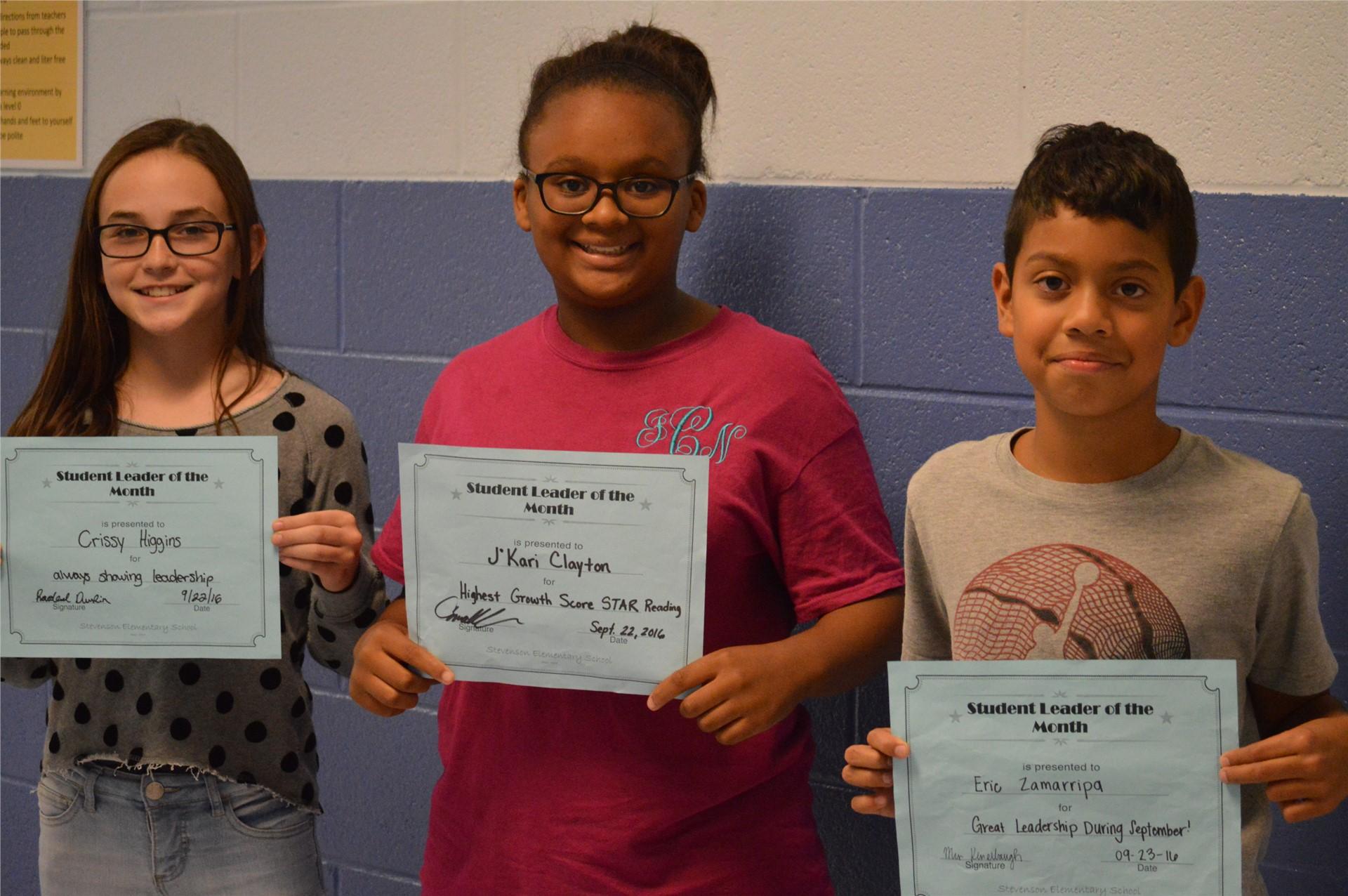 (L-R) 5th Graders:  Crissy Higgins, Eric Zamarripa, J'Kari Clayton