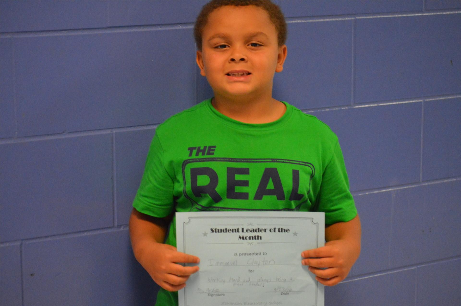 2nd Grader, Immanuel Clayton