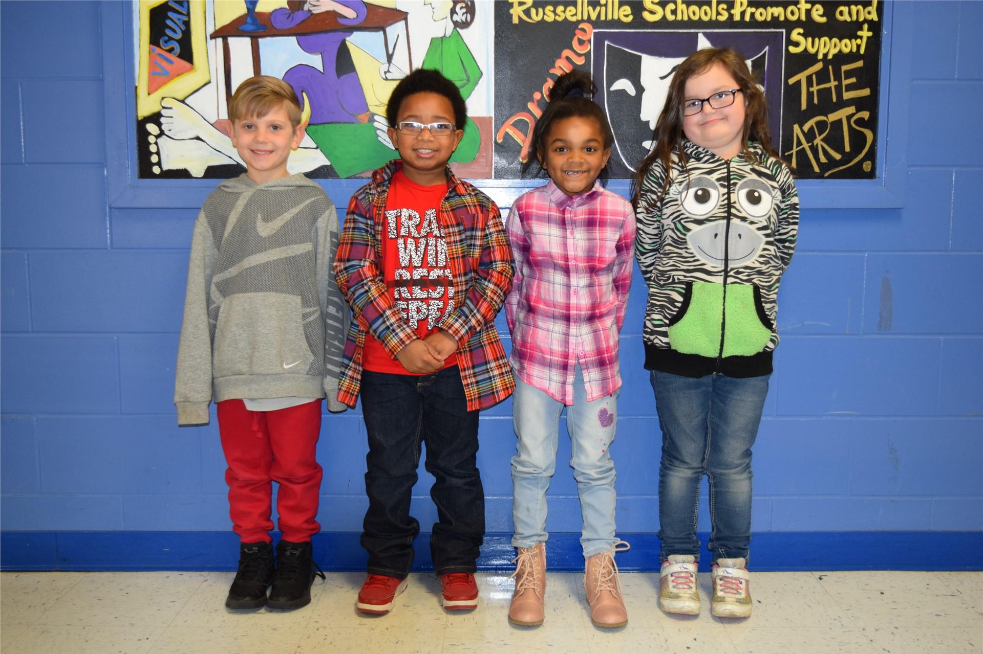 1st Grade:  J P Faughn, Dayton Clark, Alexsa Boyd, and Miaya Keith