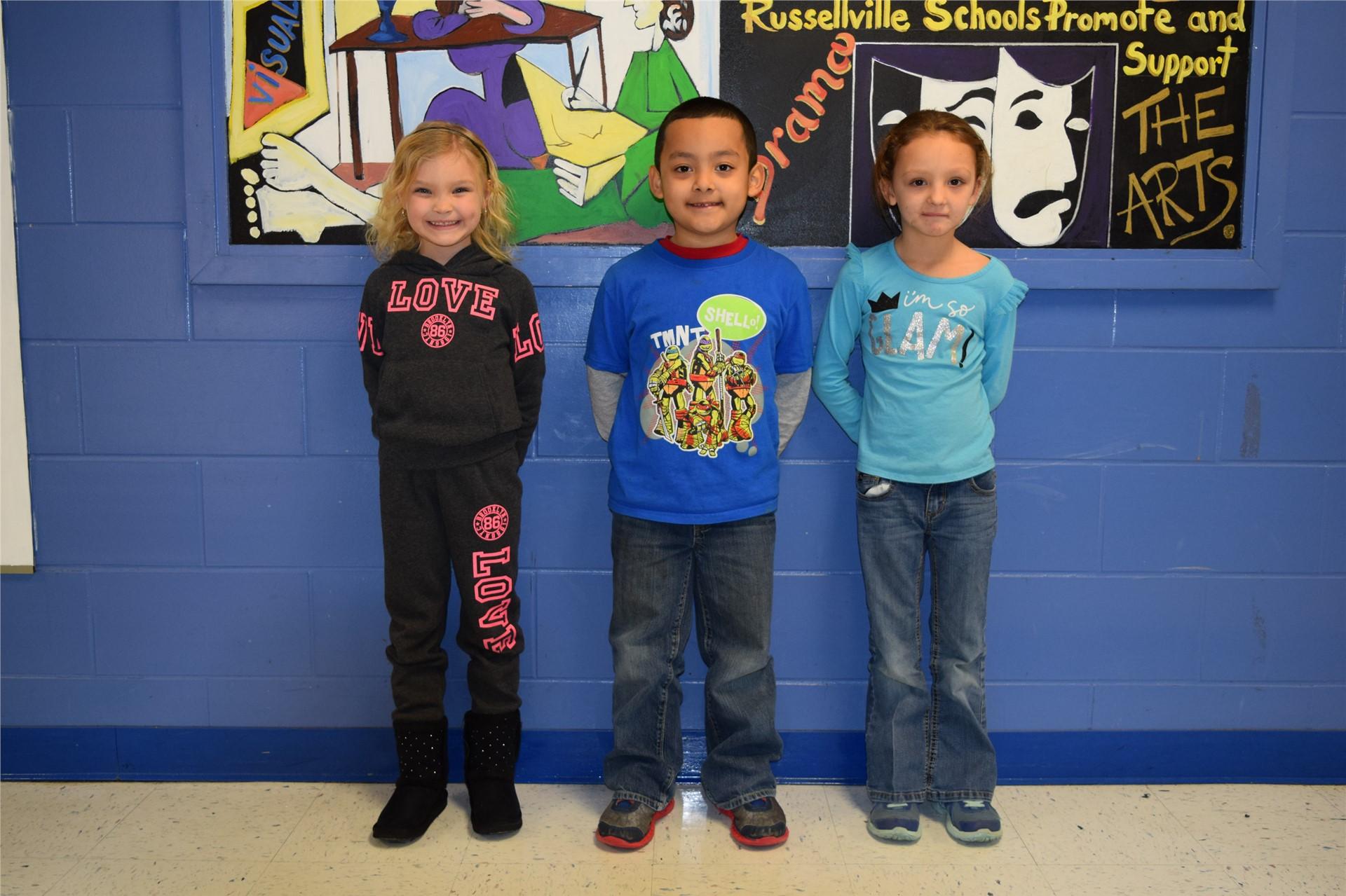 Kindergarten:  Laci Dean, Alexander Reyes, and Raven Boggs