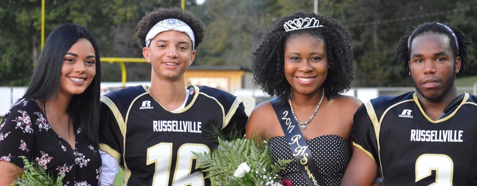 Russellville Junior/Senior High School 2017 Homecoming Princess and Prince: Jocelynn Morris & Ty Collins; Queen & King: Shailyn Milan & Jacolbie Mason.