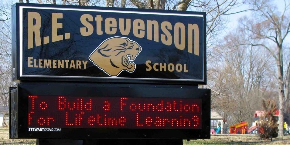 Stevenson Elementary Digital Road Sign